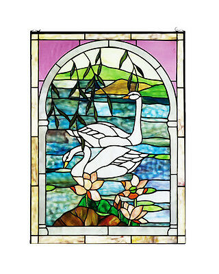 "Meyda Home Indoor Bedroom Decorative 22""Wx30""H Swans Stained Glass Window"