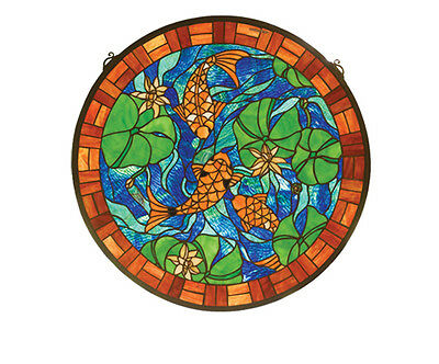 "Meyda Home Indoor Decorative 24""W X 24""H Koi Pond Lily Stained Glass Window"