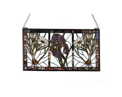 """Meyda Home Bedroom Decorative 25""""Wx14""""H Spring Triptych Stained Glass Window"""
