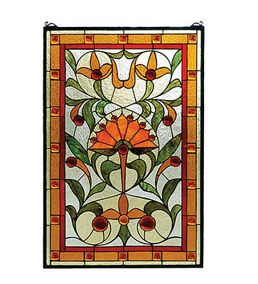 "Meyda 20""W X 30""H Picadilly Stained Glass Window-Bawg Oafl Dag Red Red Amber"