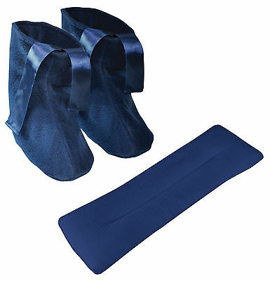 Blue Microwavable Heat Up Slippers & Neck Relax & Pain Releif Warmer Cushion Set