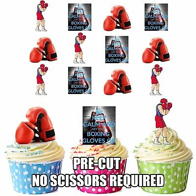 PRECUT Boxing Themed 12 Edible Cupcake Toppers Boys Mens Birthday Decorations