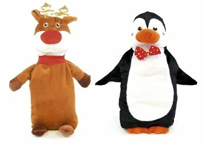 750ML Christmas Kids Hot Water Bottle Reindeer Penguin Plush Cover Winter Xmas
