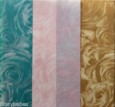 2 x A4 Sheets Standard Roses Vellum 112gsm Teal/Old Gold/Pink NEW