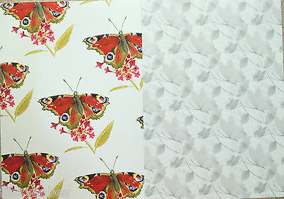 2 x A4 Large Colour Butterflies & Mono Butterflies on Leaves Backing Paper NEW