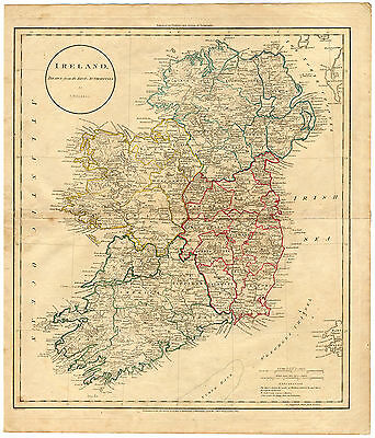 Antique Map-IRELAND-DUBLIN-LONDONDERRY-KILKENNY-WEXFORD-LIMERICK-Russell-1811