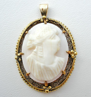 Victorian Pink Conch Shell Cameo Pendant 10K Gold Signed WRC Antique Filigree