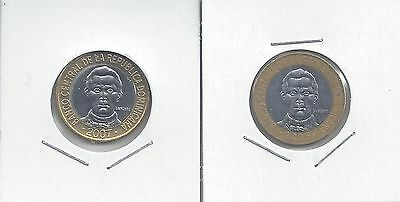 From Show Inv. - 2 BI-METAL 5 PESO COINS..the DOMINICAN REPUBLIC..2005 & 2007