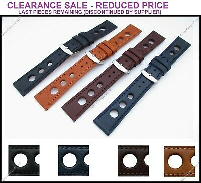 Genuine Italian Leather Grand Prix Racing Rally Watch Strap 18-24mm Color Stitch