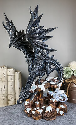 "Large 18""h Black Shadow Mother Dragon Protecting Young Statue Sculpture"