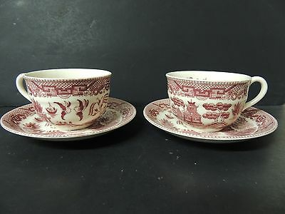 2 Vintage Red Willow Cups and Saucers Japan Classic Design on Inside