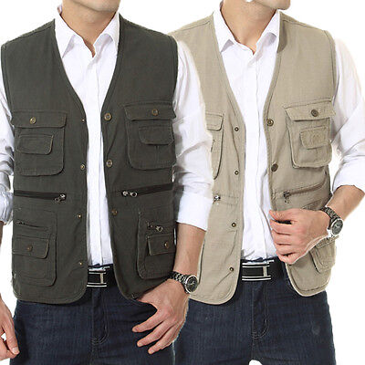 New Men's Casual  waistcoat Cotton Fashion Fishing/ Photography/ Director Vest