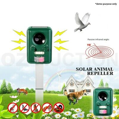 Motion Ultrasonic Solar Power Pest Animal Repeller Repellent Cat Rats Dog Mouse
