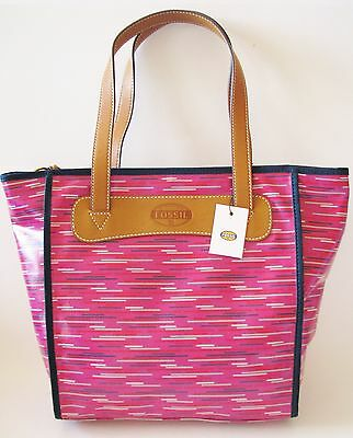 1a6cdb6f4 New Fossil Keyper Shopper Hot Pink,Berry Stripe,Coated Canvas Tote,Bag,