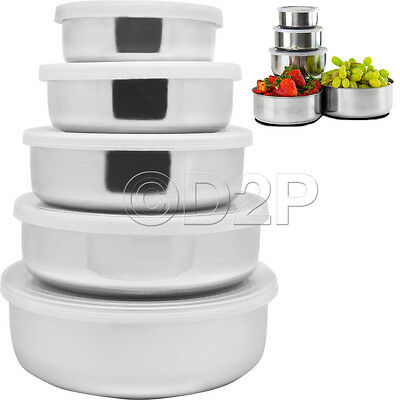 5Pc Stainless Steel Bowl Set With Plastic Lids Kitchen Storage Container New