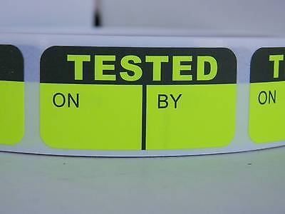 TESTED  ON/BY fluorescent chartreuse Quality Assurance Sticker Label 500/rl