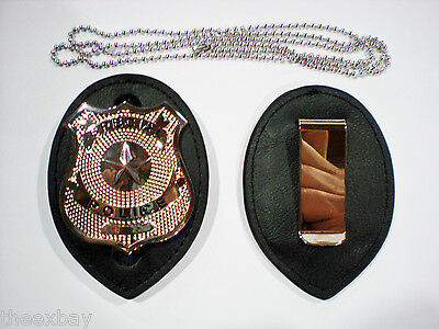 Leather Police Detective Badge Holder With Chain & Clip & BADGE Included!