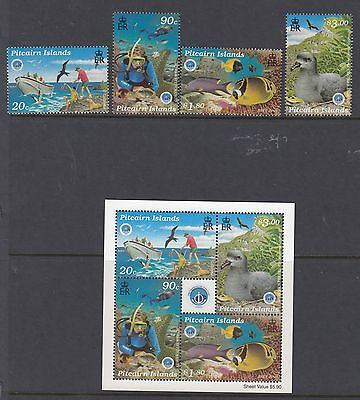PITCAIRN ISLANDS:1998 Year of the Ocean set + MS SG539-42+MS never-hinged mint