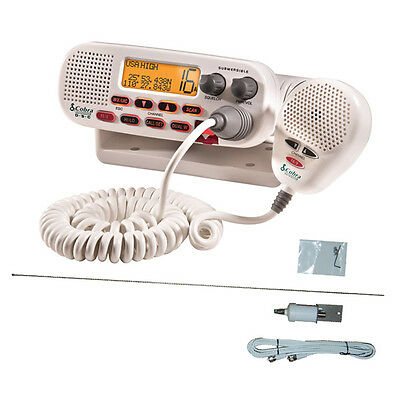 Cobra VHF White Marine Radio 25w + S/Steel Antenna + Cable NEW Quality White