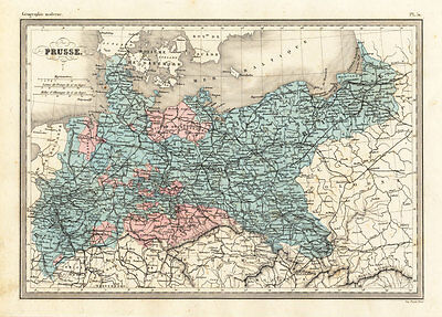 Antique Map-PRUSSIA-POLAND-GERMANY-Malte-Brun-Sarrazin-1880