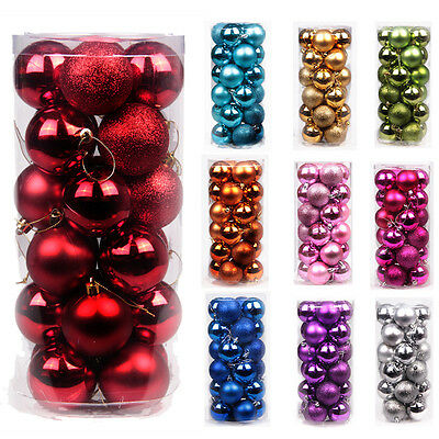 24X Christmas Tree Ball Bauble Hanging Xmas Party Ornament Decoration Home Decor