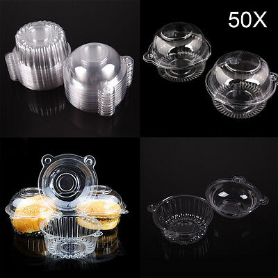50PCS Plastic Single Cupcake Muffin Holders Cake Cases Boxes Cups Pods Party New