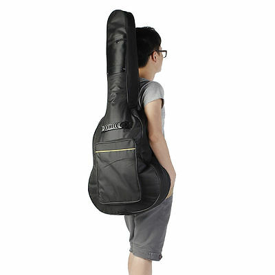"Guitar Back Bag Carry Case 42"" Full Size For Acoustic Classical Padded in Black"