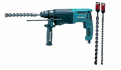 MAKITA HR2630 240v SDS+ ROTARY HAMMER + 16mm x 450 & 25mm x 450 SDS+ drill bits
