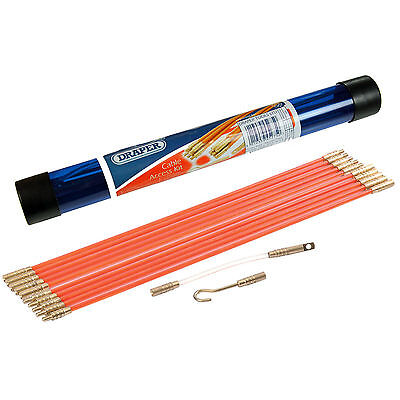 Draper Tool Box Cable Access Kit Electricians Puller Rods Draw Push Pulling Wire