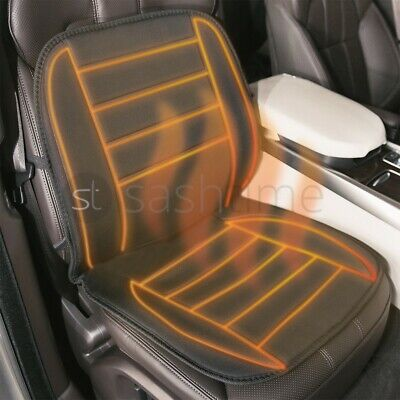 NEW 2 x 12V HEATED CAR VAN FRONT SEAT COVER PADDED THERMAL CUSHION UNIVERSAL FIT