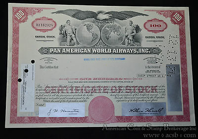 Pan American World Airways Inc Stock Certificate 100 Shares Cancelled.