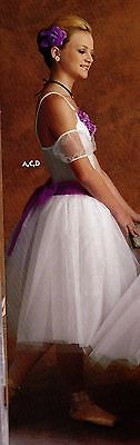 NWT Romantic Ballet costume Petite adult w/ Orchid chiffon roses/ sash accessory
