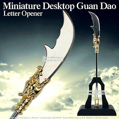 Miniature Desktop  Dynasty Warrior Guan Yu Dao Letter Opener Steel withStand