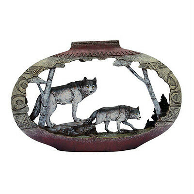 Large wolf Duo/Southwest Pottery Sculpture AM4296