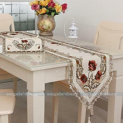 Embroidery Cutwork Tassel Home Wedding Xmas Table Runner Damasks Table Cloth #29