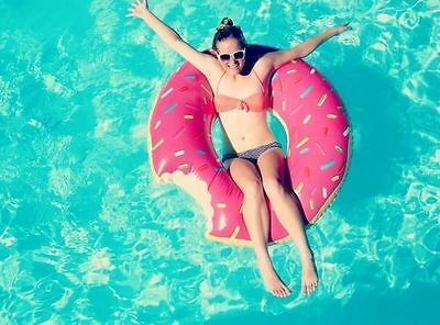 GIANT Inflatable Donut Swimming Pool Toy ~ Summer Kitsch Novelty Beach Lounge