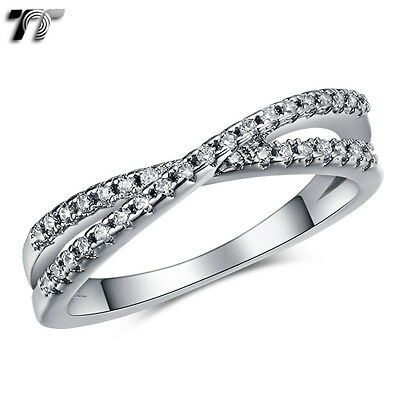 Womens TT 18K White Gold GP Two Row Paved Cross Band Ring (RF110) NEW