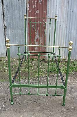 A Victorian Iron and Brass Single Bed