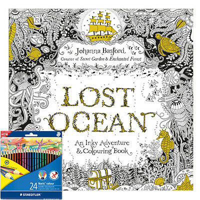 Lost Ocean An Inky Adventure & Colouring Book With Colouring Pencils Brand NEW