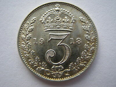 1918 silver Threepence, A UNC.