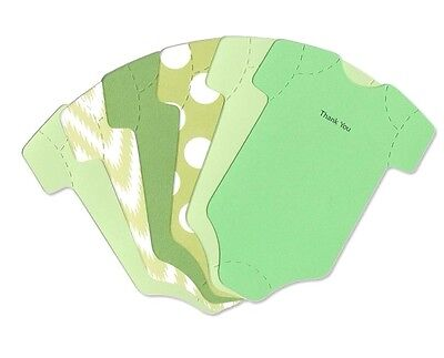 Cute Baby Thank You Cards - Grab Bag - Green Onesie Thank-You Note Baby Card Set