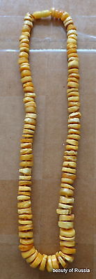 Antique Natural  butterscotch egg yolk Baltic Amber  Beads Necklace    #67