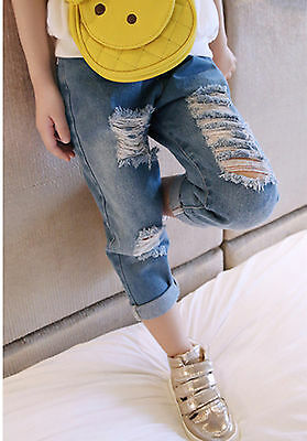 NEW Fashion Kids Girl Children Cool Ripped Slit Hole Denim Jeans Washed Pants