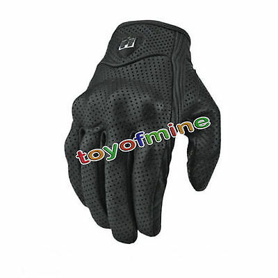 New Bike Motorcycle Riding Protective Armor Black Short Leather Gloves M L XL