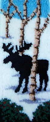 "Craftways Latch Hook  Rug Kit  ""winter Moose Banner"""