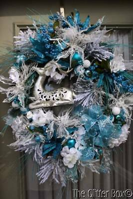 Christmas Wreath Silver Turquoise & White Elegant Holiday Wreaths Cottage