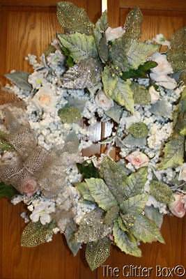 Christmas Wreath Shabby Cottage Chic Pink White Green Elegant Holiday Wreaths