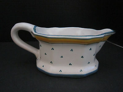 """Blue & Yellow Porcelain Gravy Boat Made in France. Crate & Barrel. 8""""x3""""."""