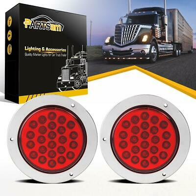 """2x24 LED Red 4"""" Round Tail Stop Turn and Brake Lights w/Chrome Bezels Waterproof"""