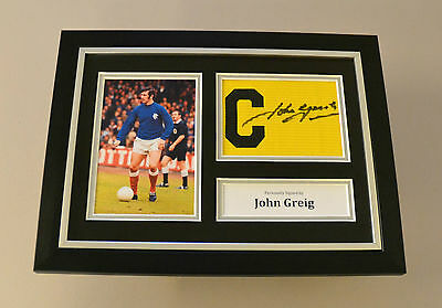 John Greig Signed A4 Photo Framed Captain Armband Rangers Autograph Display COA
